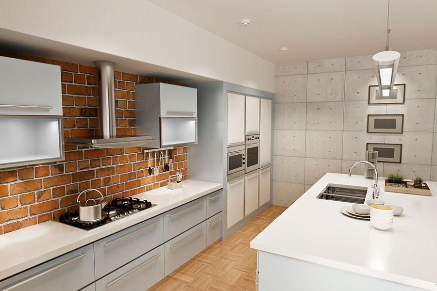 Köksväggar med tegel och sten