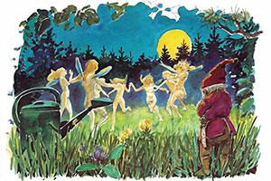 Dansande älvor i gräset