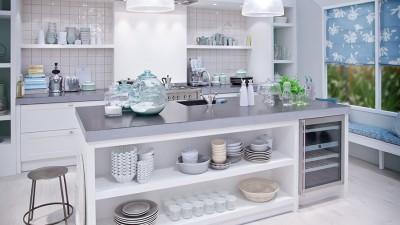 Öppna förvaringslösningar ger rymd i köket