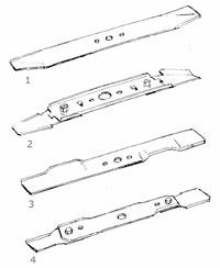 Olika typer av rotorknivar till gräsklippare