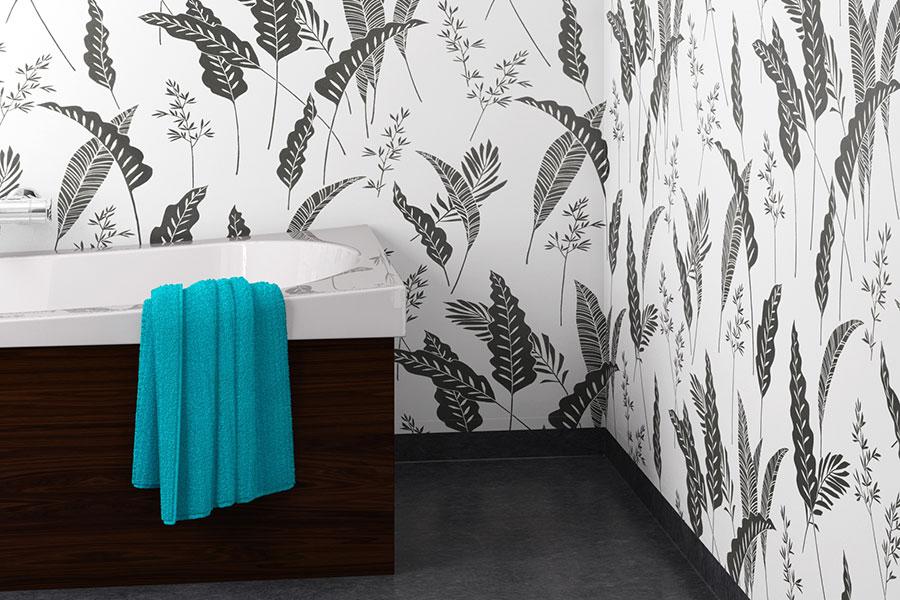 Våtrumstapeter motstår fukt i badrummet