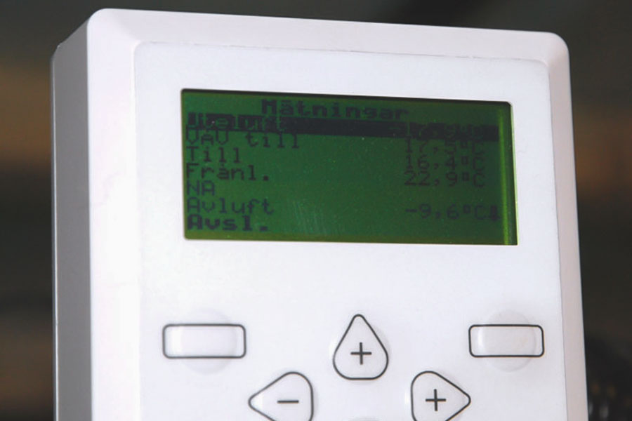 Kontrollpanel för FTX-system