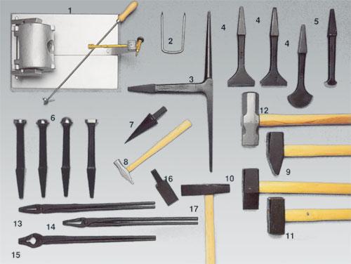 olika smidesverktyg