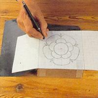 för över ritningens samtliga linjer på träet