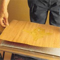 Lägg fanerskiktet med inlägget försiktigt i limbädden