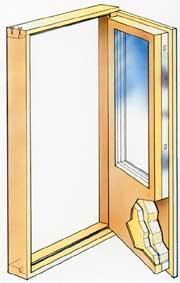 Genomskärning av fönsterdörr tillverkad i trä