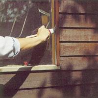 Använd en rund pensel när du målar foder.