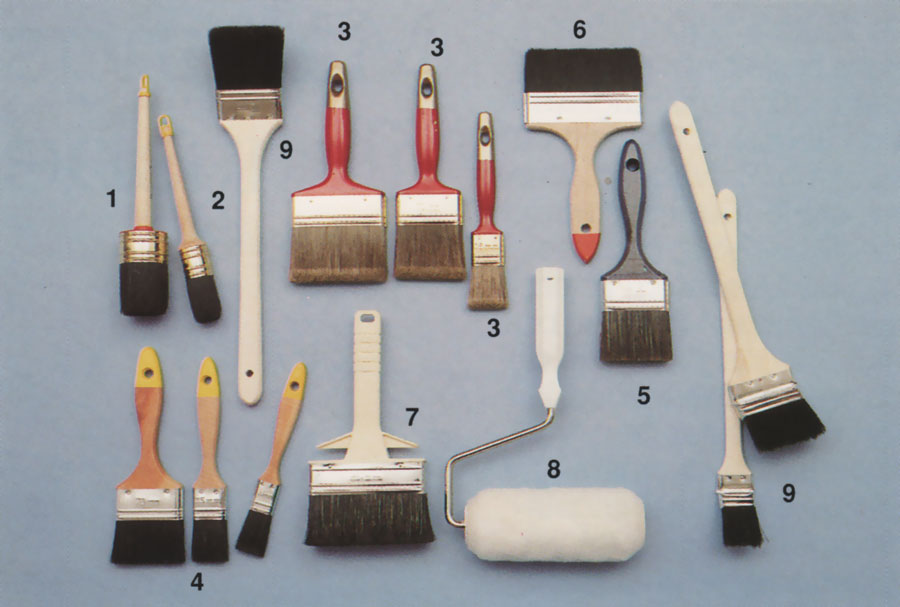Olika typer av penslar och roller