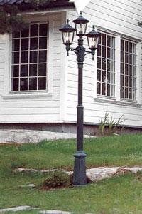 En äldre modell av stolpbelysning.