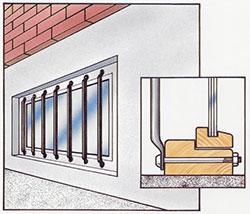 Lämpligt galler för inbrottsskydd av källarfönster