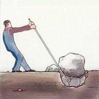 Är stenen inte alltför stor kan du steg för steg lyfta den med spett