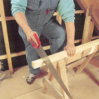 Mät upp reglarna. gör sågmarkeringen och såga med fogsvans för kapning.