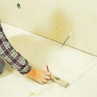 Rita upp kakelugnen mått i golvet