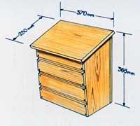 Skiss på brevlåda av trä