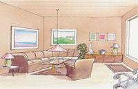 Färgsättning av stort rum för en ombonad miljö