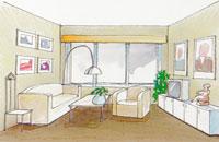 Färgsättning av litet rum