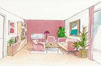 Färgsättning av långt och smalt rum
