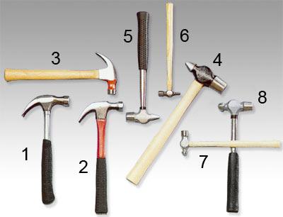 Olika typer av hammare
