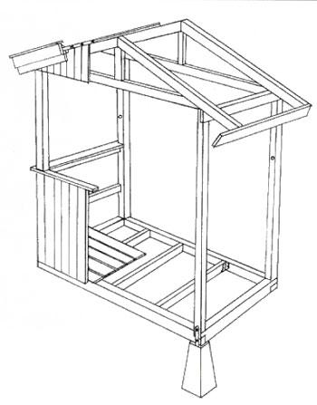 Ritning på verandakonstruktionens viktigaste detaljer