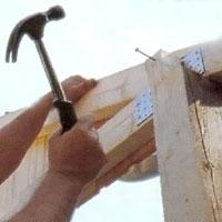 Spika fast takstolen och skråspika underifrån