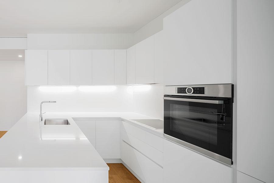 Köksstil i skandinaviskt kök med vit kulör