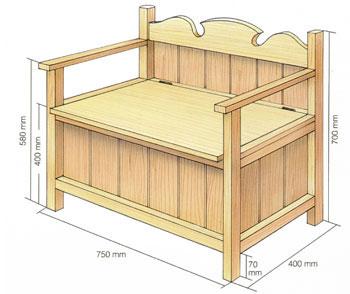 Ritning på en vedlår utformad som en soffa