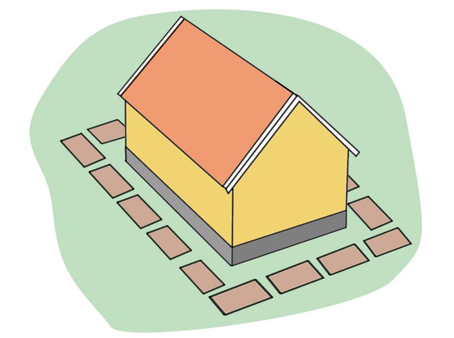 Provisorisk körbana av byggplattor runt huset vid dränering