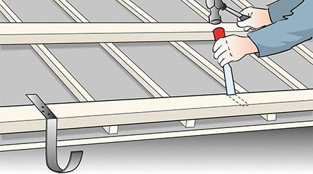 Om rännkrokar och hängrännor måste bytas eller flyttas är det lämpligt att fälla in krokarna i nedre bärläkten