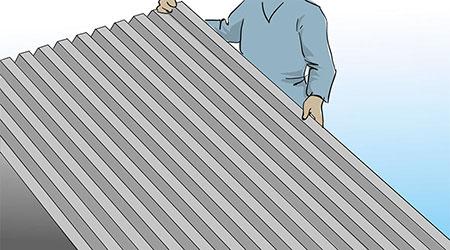 Plåtlängder som täcker från takfot till nock läggs normalt med en plåtvågs överlapp