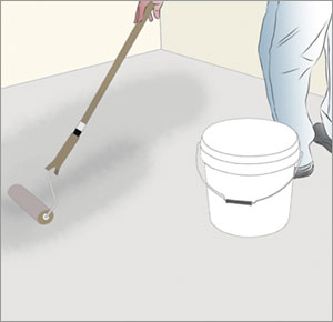 rollar ut golvprimer på betonggolv