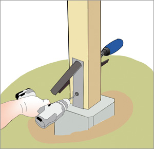 borrar hål i staketstolpe med borrmaskin