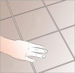 fördela färgnyanser på klinkerplattorna över golvet