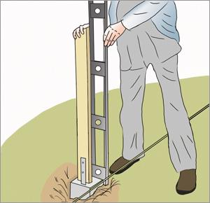 kontrollerar staketstolpe med vattenpass