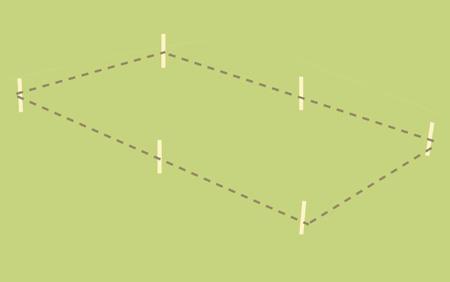 ritning för placering av altangolv med markering