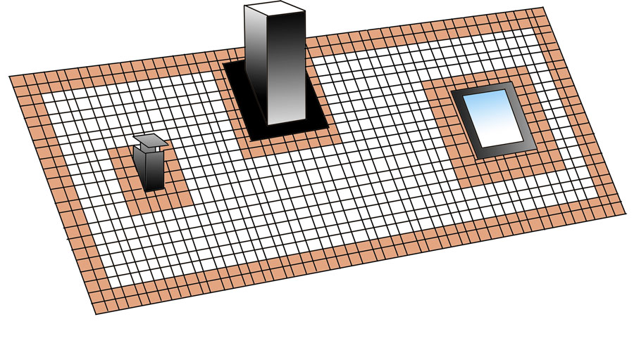Markering vilka takpannor som ska spikas vid takläggning