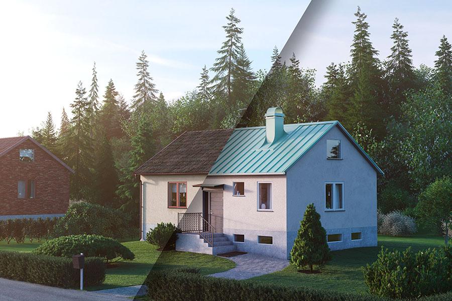 60-talshus med plåttak och fasadputs. Plannja Trend i kulören ärggrön