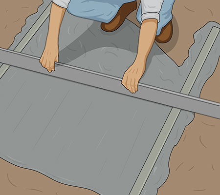 Dra av betongytan med rätkäpp