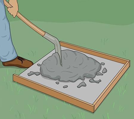 Blanda betongen på en plywood skiva
