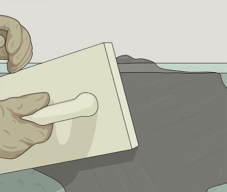 Fukta putsbrädan med vatten innan du börjar putsa