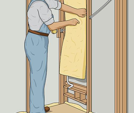 Isolera väggarna i bastun