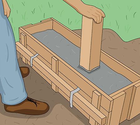 Fyll formen med betong och packa den