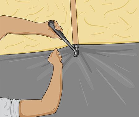 Se till att folien på väggarna kommer mot taket och inte innanför isoleringen