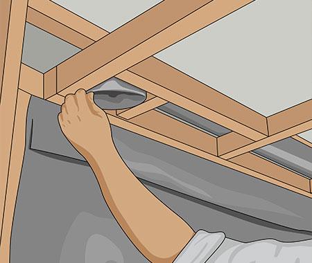 Skjut in ventilationsröret i urtaget ovanför takstommen