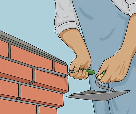 Dra skyddet uppåt efterhand som du murar
