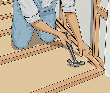 Spika också fast ramen i befintliga väggars bottenreglar
