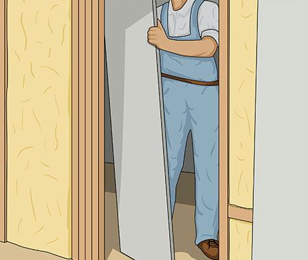 Ta bort gipsskivan som suttit på regelfacket för dörrhålet