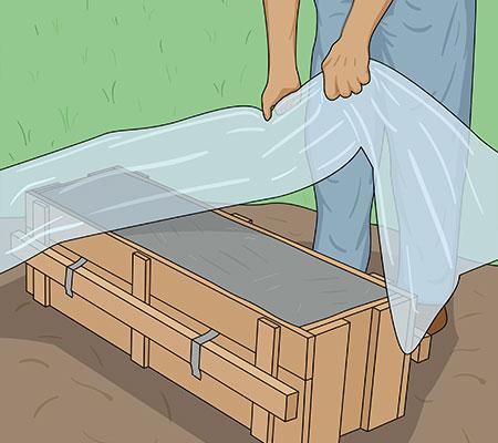 Håll betongen fuktig under ca 1 vecka med plast