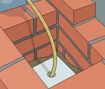 Tryck ner skyddet i skorstenen