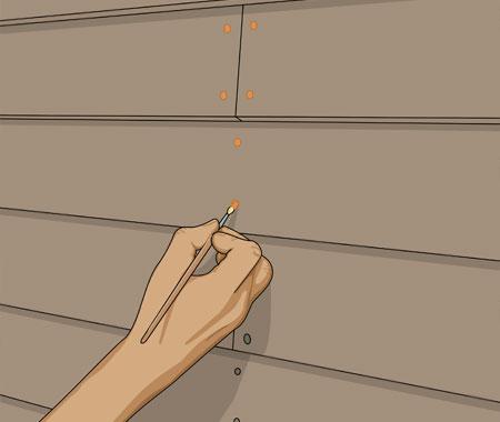 Rostskyddsmålar rostiga spikar som kan missfärga den nymålade panelen.